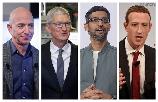 This combination of 2019-2020 photos shows Amazon CEO Jeff Bezos, Apple CEO Tim Cook, Google CEO Sundar...
