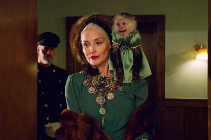 "Sharon Stone (and her monkey!) in ""Ratched."""