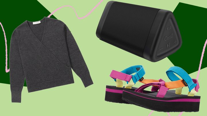 """A portable speaker to take anywhere, a cashmere sweater on sale and sandals for the """"camp counselor"""" look — these were a few of HuffPost readers' favorite things in July."""