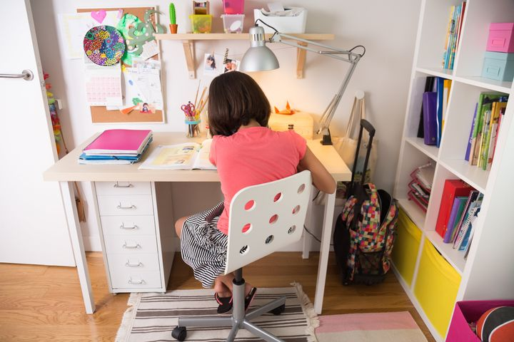 """For those who are short on space but still want a place to keep all their supplies in one place, <a href=""""https://fave.co/3gf7uv0"""" target=""""_blank"""" rel=""""noopener noreferrer"""">this IKEA pegboard setup</a>&nbsp;is a smart way to store your child's writing utensils and craft supplies."""