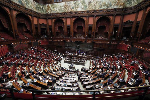 L'aula di Montecitorio durante il voto di fiducia sulla legge di bilancio, Roma, 23 dicembre 2019. ANSA/RICCARDO