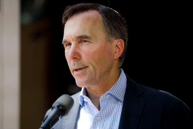 Finance Minister Bill Morneau speaks to media during a press conference in Toronto on July 17,