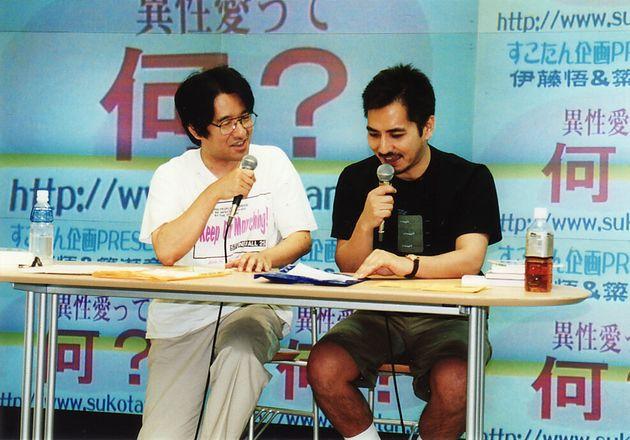インストアイベントで話をする伊藤悟さん(左)と簗瀬竜太さん。2000年ごろの撮影。