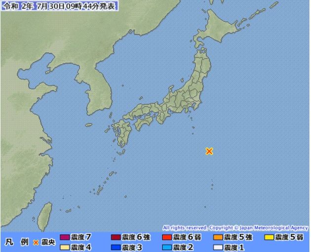 気象庁が発表した7月30日9時36分ごろの地震情報