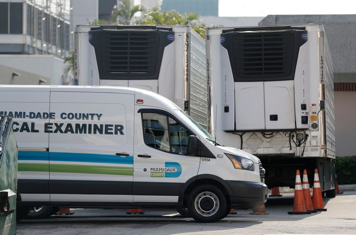 """Two refrigerated trailers at the Miami-Dade Medical Examiner Department were leased """"to ensure that we are prepared to help t"""