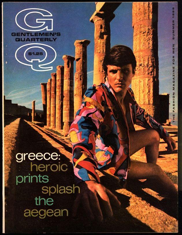 Θερινό τεύχος, 1968 του Gentlemen's Quarterly. Στο εξώφυλλο, μοντέλο φωτογραφίζεται στο Ναό της Αθηνάς στην ακρόπολη της Λίνδο, στη Ρόδο.