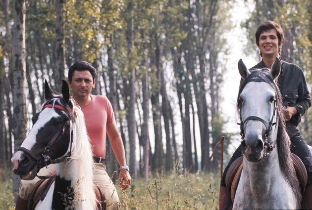 Italian singer-songwriter Lucio Battisti and Italian lyricist Mogol (Giulio Rapetti) riding their horses....