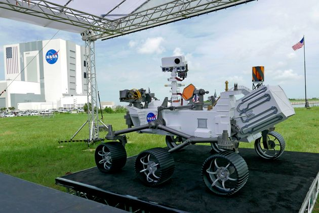 A replica of the Mars rover Perseverance is displayed at the Kennedy Space Center on Wednesday, July...