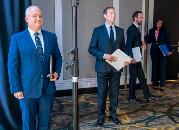 From left to right, Erin O'Toole, Peter MacKay, Derek Sloan and Leslyn Lewis appear in Toronto for a...