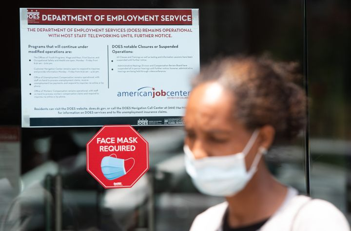Diana Yitbarek, 44, leaves the DC Department of Employment Services, after trying to find out about her unemployment benefits