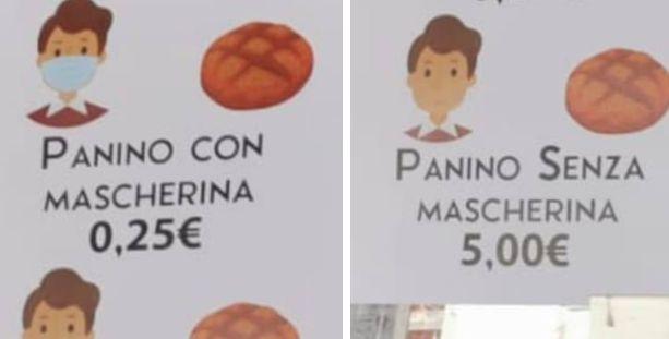I cartelli affissi nel panificio di Palma