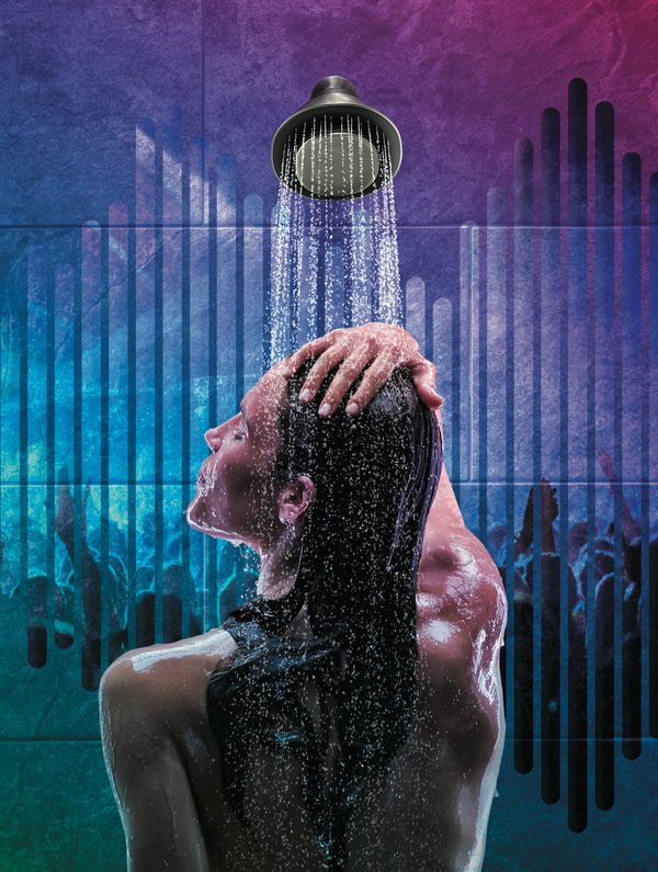 """Used to be that people sang in the shower. But thanks to <a href=""""https://www.smarthome.kohler.com/smart-shower-speaker-moxie"""