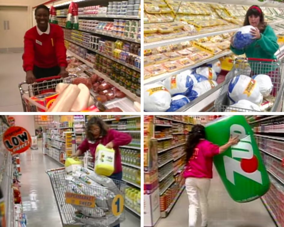 During the final round, contestants would run around the supermarket shoveling items into carts in hopes...