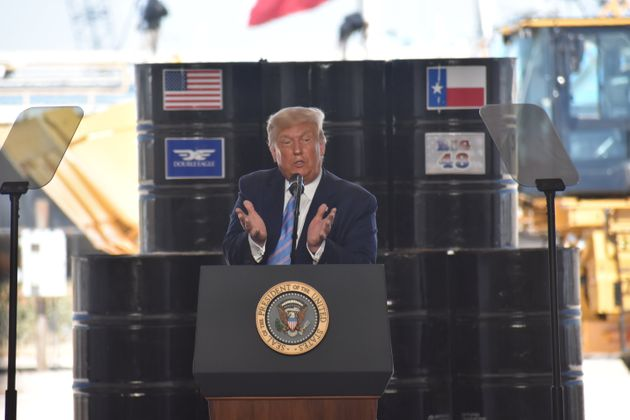TEXAS, UNITED STATES - JUNE 29: US President Donald J. Trump delivers his remarks at Double Eagle Energy...