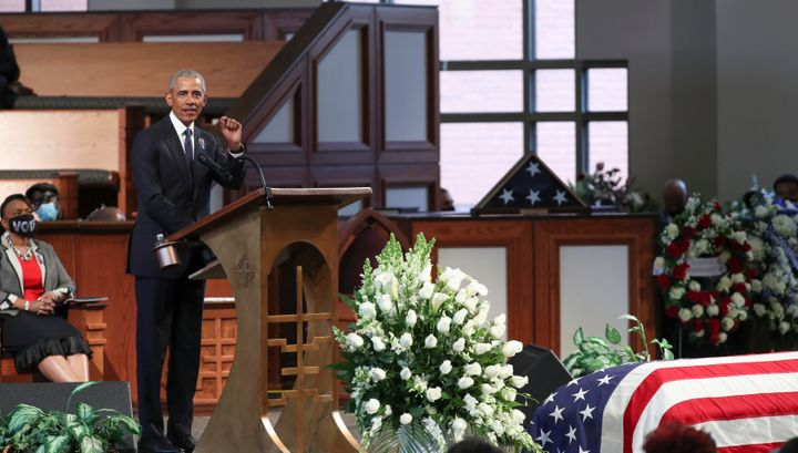 Former President Barack Obama speaks at the funeral of Rep. John Lewis, a legendary civil rights leader. Obama said Democrats