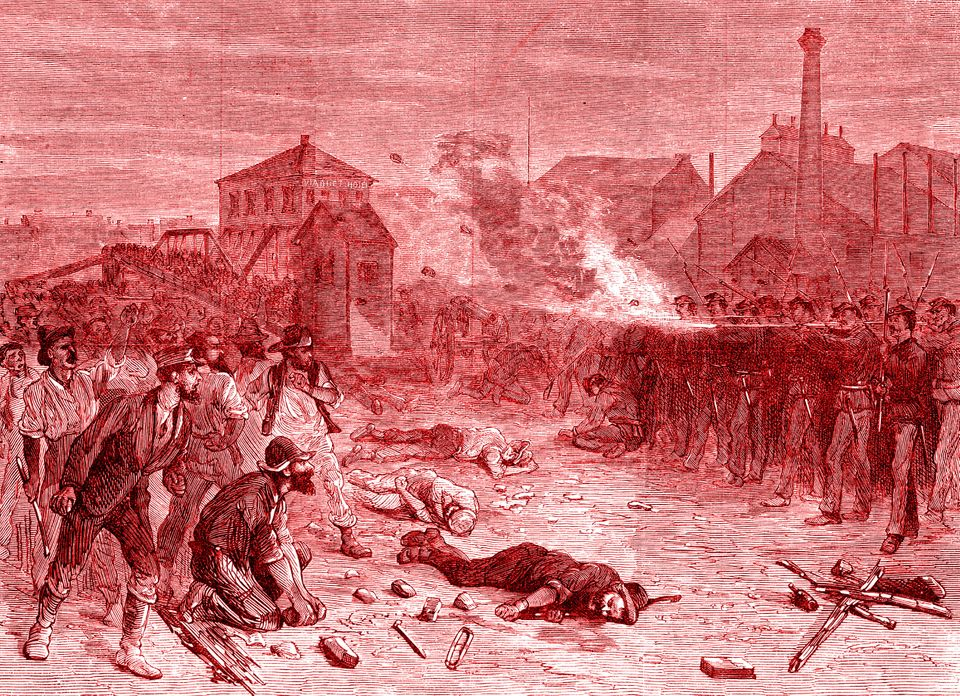 An illustration depicts the 1877 Great Railroad Strike, when soldiers fire on the crowd during a riot...