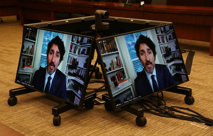 Prime Minister Justin Trudeau testifies via video conference during a House of Commons Standing Committee on Finance on July 30, 2020 in Ottawa.