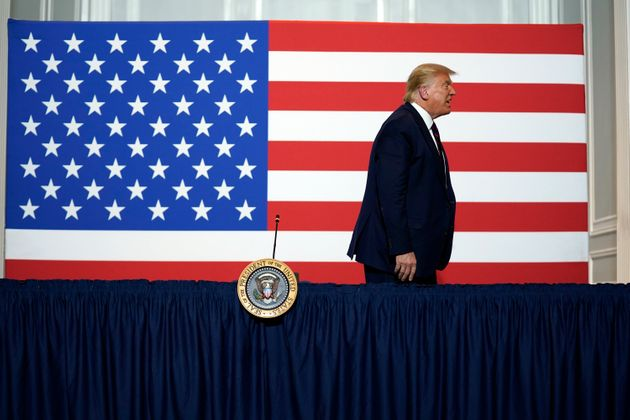 President Donald Trump leaves after participating in a roundtable on donating plasma at the American Red Cross national headquarters on Thursday, July 30, 2020, in Washington. (AP Photo/Evan Vucci)