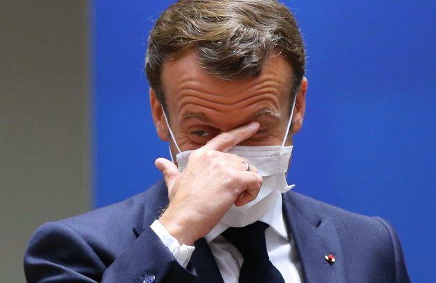 El presidente francés Emmanuel Macron, en el Consejo Europeo el 18 de julio de 2020 en Bruselas...