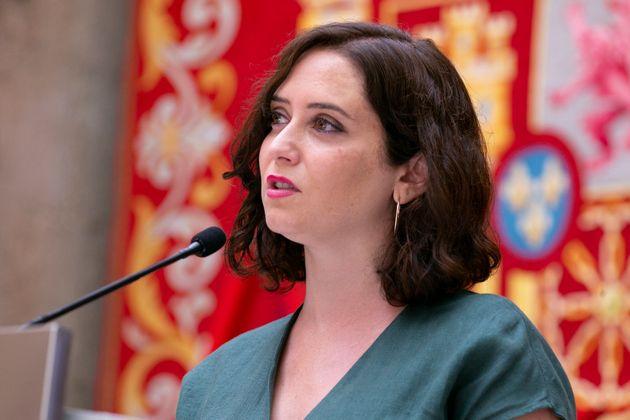 Isabel Díaz Ayuso, en rueda de prensa para explicar la estrategia de la Comunidad de Madrid contra...