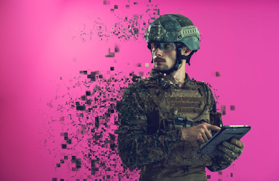 soldier using tablet computer hands closeup pnk background pixelated neural network