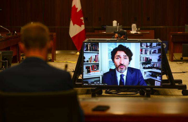Prime Minister Justin Trudeau appears as a witness via videoconference during a House of Commons finance committee on July 30, 2020.