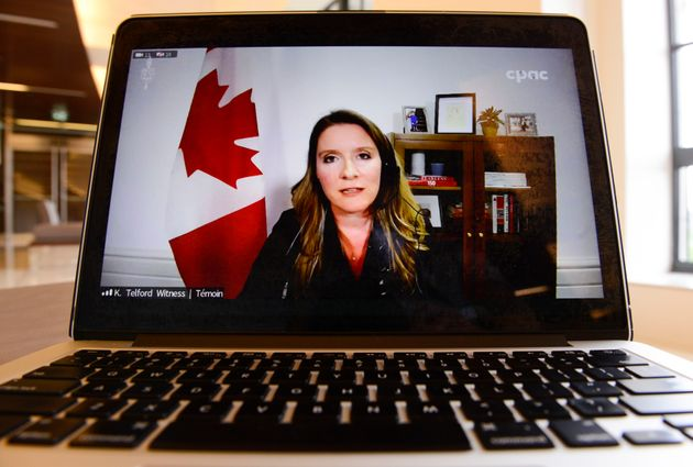 Katie Telford, chief of staff to the Prime Minister, is viewed on a laptop computer as she appears as...