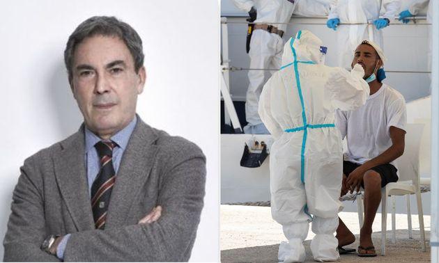 Massimo Clementi e un tampone ad un migrante a