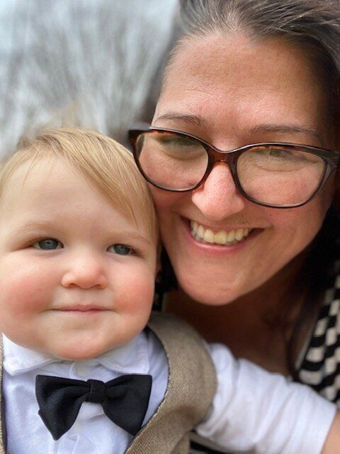 The author and her son.