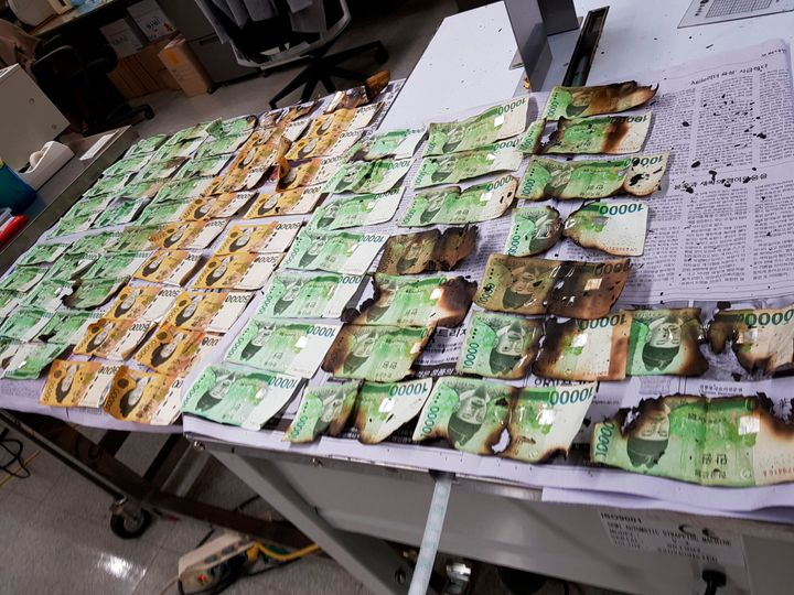 This undated photo provided by the Bank of Korea on Friday, July 31, 2020, shows damaged banknotes by being heated up in a mi