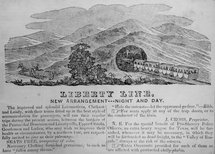 """An 1844 Chicago Western Citizen advertisement for the """"Liberty Line,"""" which is a thinly veiled reference to the Underground Railroad which has """"Seats Free, irrespective of color'"""" and travels 'between the Patriarchal Dominion and Libertyville, Upper Canada."""" The advertisement ran in Chicago, IL, 1844."""