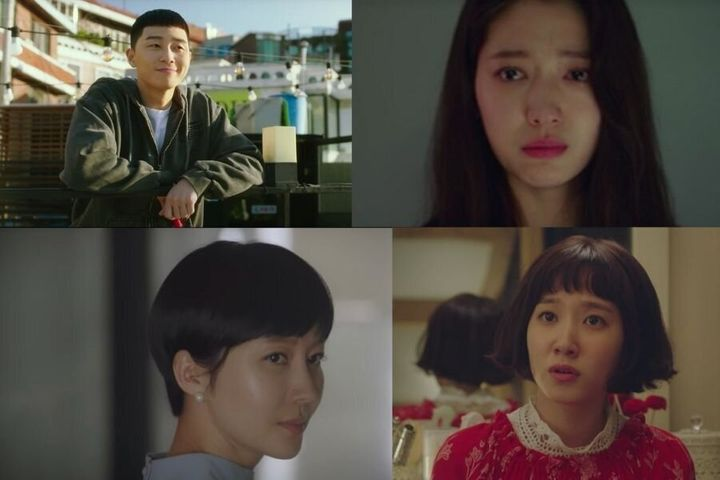 Screenshot from 'Itaewon Class', 'Memories of the Alhambra', 'Hello, My Twenties' and 'Sky Castle' (clockwise).