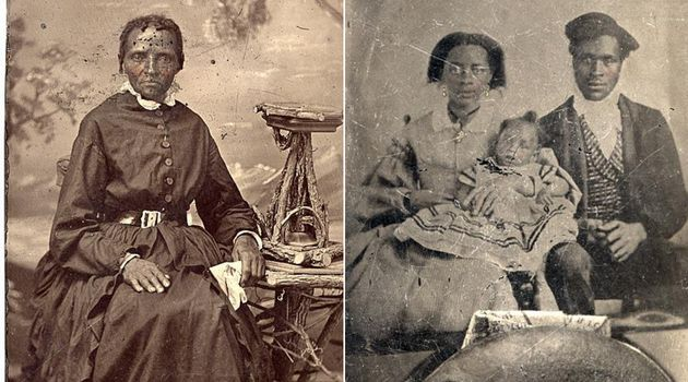 An unidentified woman and family photographed in the 1800s and preserved in an Archive of Ontario exhibit...