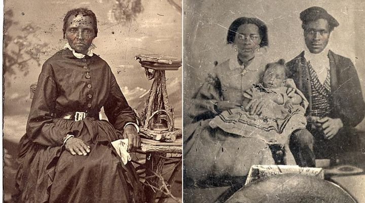 An unidentified woman and family photographed in the 1800s and preserved in an Archive of Ontario exhibit about enslaved people in Upper Canada.