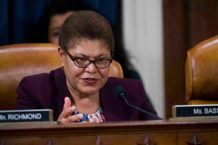 Rep. Karen Bass, D-Calif., questions Intelligence Committee Minority Counsel Stephen Castor and Intelligence Committee Majori