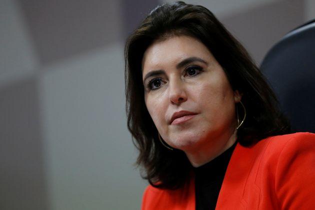 Simone Tebet (MDB-MS) é cotada para presidir o Senado, mas não quis comentar a sucessão...