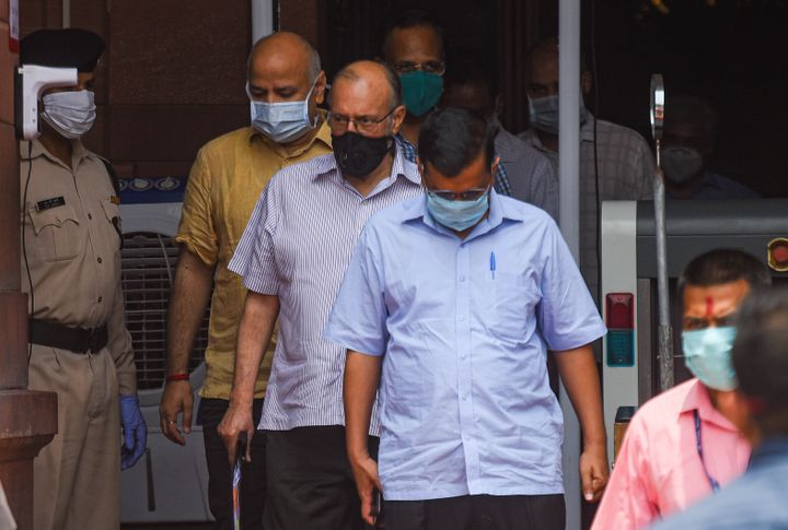 Delhi CM Arvind Kejriwal, Lt Governor Anil Baijal, Deputy CM Manish Sisodia and Health Minister Satyendar Jain leave North Block after attending a meeting with Union Home Minister Amit Shah on the Covid-19 situation in the national capital, on June 14, 2020.