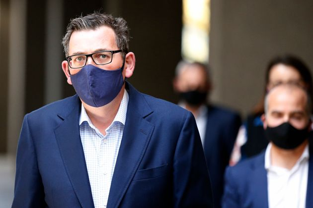 Victorian Premier Daniel Andrews walks into a press conference on August 02, 2020 in Melbourne,