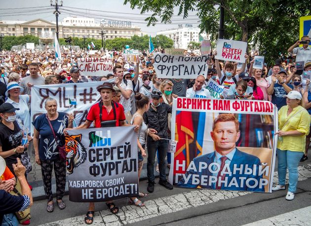 러시아 동쪽 끝에 위치한 하바롭스크에서는 세르게이 푸르갈 주지사 체포에 항의하는 시위가 한 달째 계속되고