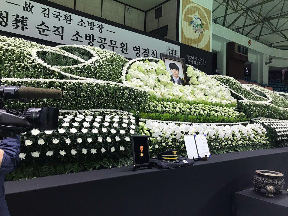 2일 오전 전남 순천시 팔마체육관에서 순직한 김국환 소방장의 영결식이 열리고 있다.