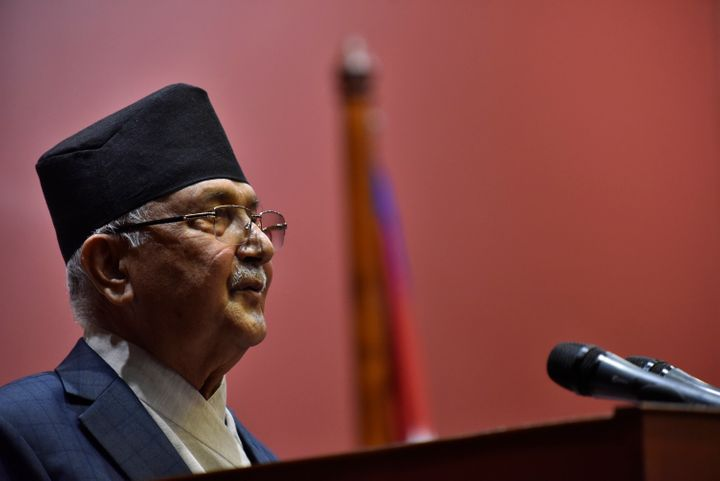 Prime Minister KP Sharma Oli speaks in the National Assembly on the Constitution amendment bill at Kathmandu, Nepal on June 18, 2020.