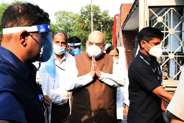 Union Home Minister Amit Shah during a Covid-19 preparedness review of Lok Nayak Jai Prakash (LNJP) Hospital...