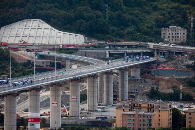 A general view of the operation of the final test of the new bridge built after the collapse of the historical...