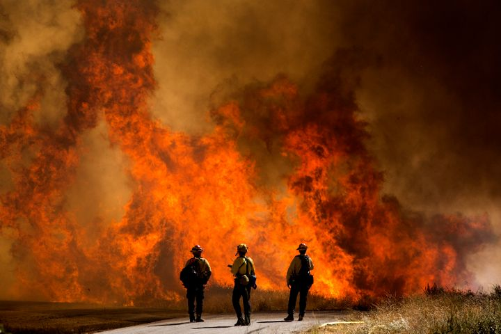 The Apple Fire in Cherry Valley, California, is estimated to have burned through roughly 20,000 acres by Sunday. It prompted