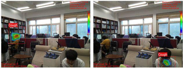 연구실 환경에서 기침 인식 카메라가 기침 발생 위치를 표시하는