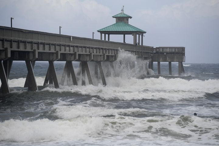 Deerfield Beach, Florida as the storm neared the coast.