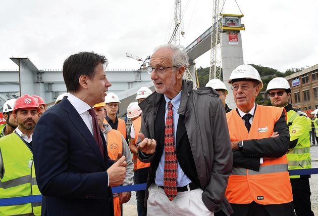 Renzo Piano con il premier Conte sul cantiere del nuovo