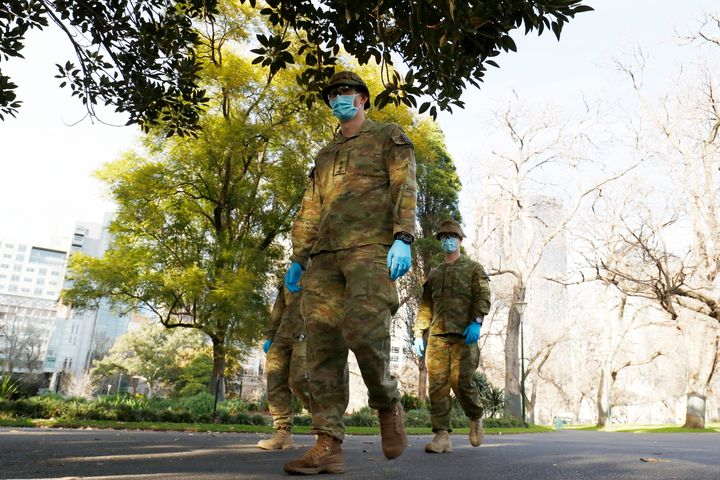Members of the ADF (Australian Defence Force) patrol the streets on August 03, 2020 in Melbourne, Australia.