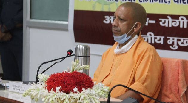 Uttar Pradesh Chief Minister Yogi Adityanath during a Covid-19 review meeting at BHU's central office...