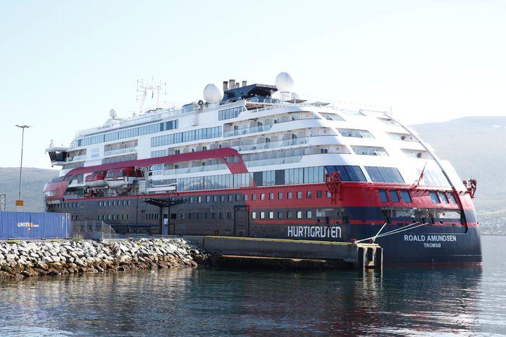 Norwegian cruise ship MS Roald Amundsen moored in Tromso, Norway, Monday Aug. 3, 2020.